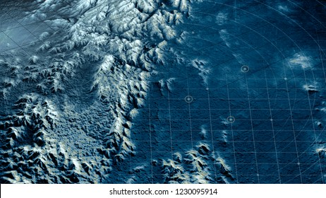 Satellite view of land, war operations, sci-fi, night vision with blue hues. Military target. Drone flying over an area. Undercover operation. Mountain reliefs and plains. New planet. 3d rendering
