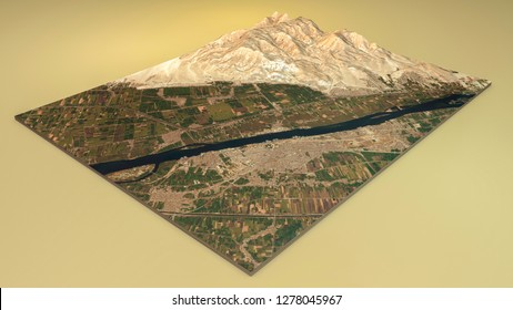 Satellite view of Luxor. Split in 3d of Luxor city and archaeological sites. 3d rendering. Tourism and places to visit in Egypt. Tourist Board. All the images are furnished by NASA
