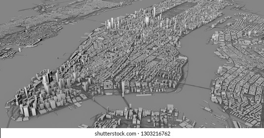 Satellite view of New York city, map, 3d buildings, 3d rendering. Streets and skyscraper of Manhattan