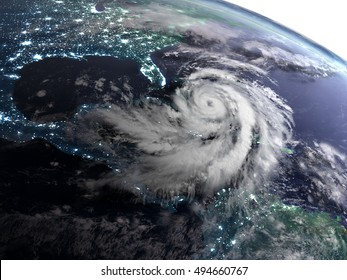 Satellite view of night over America with massive hurricane in Caribbean. 3D illustration. Elements of this image furnished by NASA