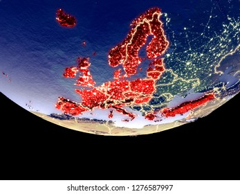 Satellite view of OECD European members from space at night. Beautifully detailed plastic planet surface with visible city lights. 3D illustration. Elements of this image furnished by NASA.