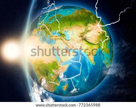 Satellite View Qatar Highlighted Red On Stock Illustration 772365988