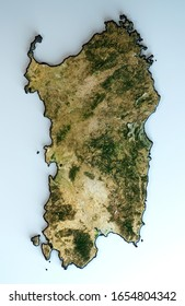 Satellite view of the Sardinia region. Italy. 3d render. Physical map of Sardegna, plains, mountains, lakes, mountain range. Elements of this image are furnished by NASA