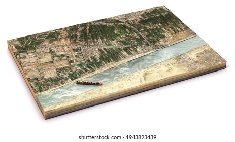 Satellite view of the Suez Canal. Reconstruction of the container ship stranded in the canal. Cargo ship wedged in Suez Canal causes traffic jam. Egypt. Ever Given. 3d render
