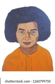 Sathya Sai Baba portrait illustration acrylic color painting on canvas