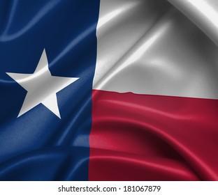 Satin flag, three dimensional render, flag of Texas