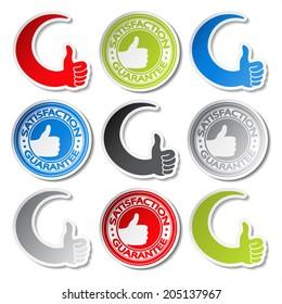 satisfaction guarantee stickers - gesture hand labels
