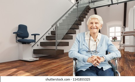 Satisfied senior citizen in wheelchair in front of stair lift at home (3D Rendering)
