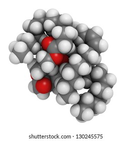 Saturated animal fat triglyceride molecule. These molecules are typically found in animal (butter, cheese, beef) fat. They are composed of a glycerol molecule esterified with 3 saturated fatty acids.