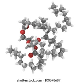 Saturated fat triglyceride molecule, like it is typically found in animal (butter, cheese, beef) fat.