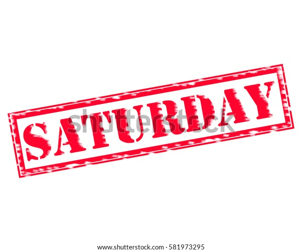 SATURDAY RED Stamp Text on white backgroud