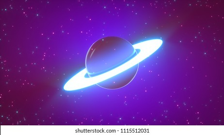Saturn planet in cartoon style and lots of shining stars. Glossy ball with glowing neon ring and bright particles. Concept of wall inside the children's room. Wallpaper for kids, phones. 3d rendering