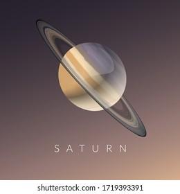 Saturn Planet Minimal Digital Illustration with Coloured Background