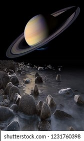 Saturn rise seen from the surface of its moon Enceladus illustration. Elements of this image furnished by NASA