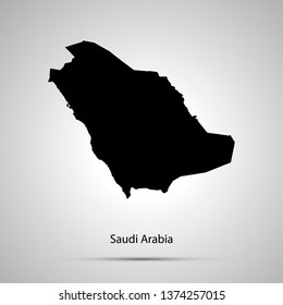 Saudi Arabia country map, simple black silhouette