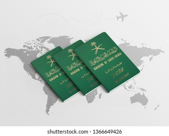 Saudi Arabia Family Passports for travel on the world map background - 3D illustration