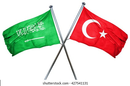 Saudi Arabia flag  combined with turkey flag
