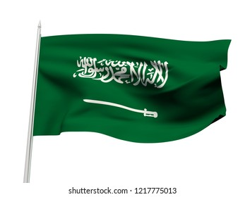 Saudi Arabia flag floating in the wind with a White sky background. 3D illustration.