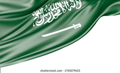 Saudi arabia flag isolated on white background, 3D illustration