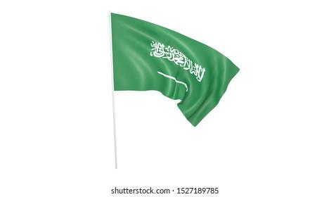 Saudi Arabia flag with pole on white background,texture,  Symbols of Saudi Arabia -3D illustration