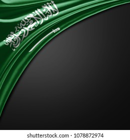 Saudi Arabia flag of silk with copyspace for your text or images and black background -3D illustration