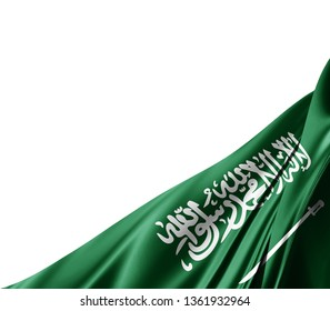 Saudi Arabia flag of silk with copyspace for your text or images and white background -3D illustration