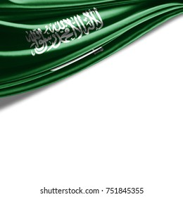 Saudi Arabia flag of silk with copyspace for your text or images and white background-3D illustration