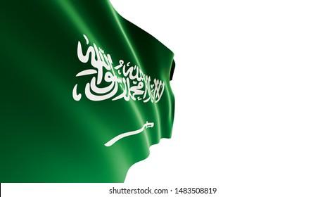 Saudi Arabia flag waving on white background, KSA Flag