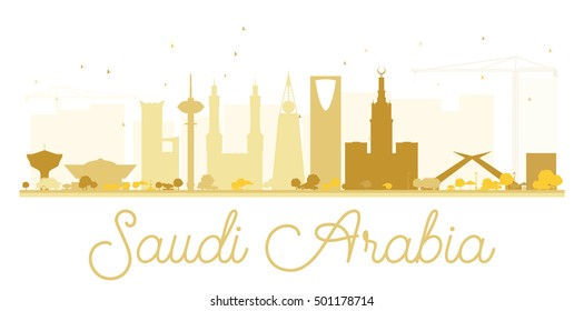 Saudi Arabia golden skyline silhouette. Simple flat concept for tourism presentation, banner, placard or web site. Business travel concept. Cityscape with landmarks