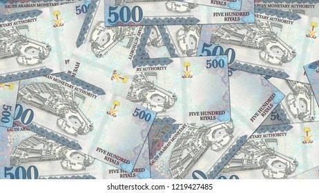 Saudi Arabia KSA banknote as background wallpaper using 500 SR Five Hundred Saudi Riyal