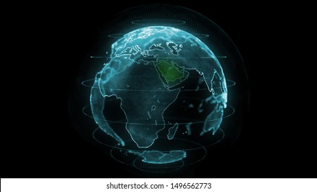 Saudi Arabia Map Hologram Effect, KSA Digital global map, Riyadh zoom out