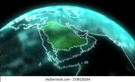 Saudi Arabia Map Hologram Effect, KSA Digital global map, Riyadh