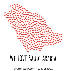 Saudi Arabia Map with red hearts- symbol of love. abstract background with text We Love Saudi Arabia.  illustration. Print for t-shirt