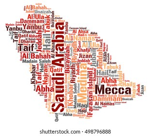 Saudi Arabia map silhouette word cloud with most popular travel destinations