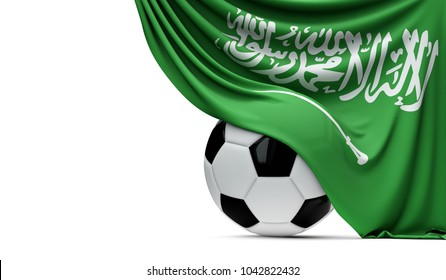 Saudi Arabia national flag draped over a soccer football ball. 3D Rendering