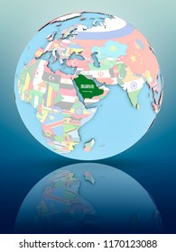 Saudi Arabia on political globe with national flags on reflective surface. 3D illustration.