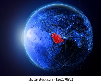 Saudi Arabia from space on planet Earth with blue digital network representing international communication, technology and travel. 3D illustration. Elements of this image furnished by NASA.