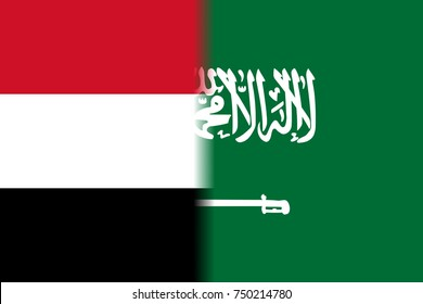Saudi Arabia versus Yemen as shown by two flags side by side in the frame.