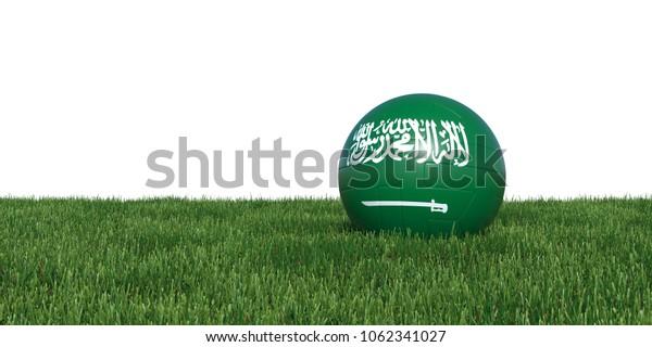 Saudi Arabian Saudi Arabia flag soccer ball lying in grass, isolated on white background. 3D Rendering, Illustration.