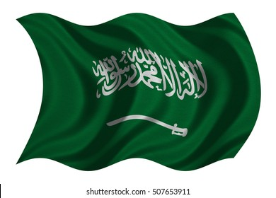 Saudi Arabian national official flag. Patriotic symbol, banner, element, background. Correct colors. Flag of Saudi Arabia with real detailed fabric texture wavy isolated on white, 3D illustration