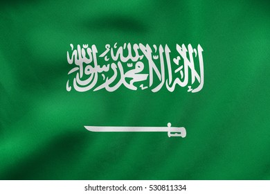 Saudi Arabian national official flag. Patriotic symbol, banner, element, background. Correct size, colors. Flag of Saudi Arabia waving in the wind, real detailed fabric texture. 3D illustration