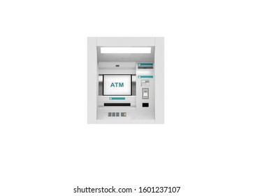 Saudi Riyal ATM teller machine, 3d illustration background, ten, fifty, one hundred, and five hundred bills.