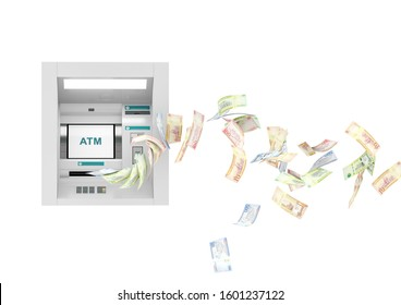 Saudi Riyal ATM teller machine with flying money notes, 3d illustration background, ten, fifty, one hundred, and five hundred bills.