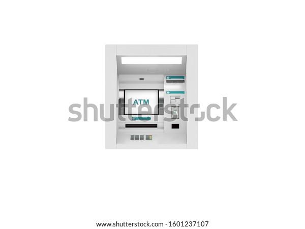 Saudi Riyal ATM teller machine, 3d illustration background, ten, fifty, one hundred, and five hundred bills.