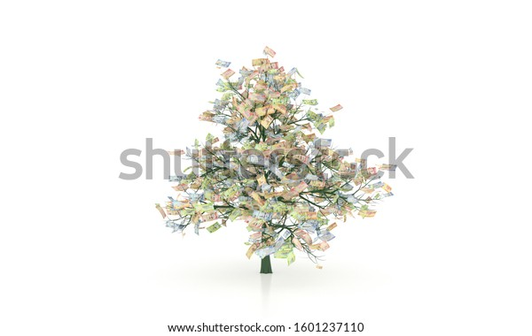 Saudi Riyal money tree 3d illustration background, ten, fifty, one hundred, and five hundred bills.