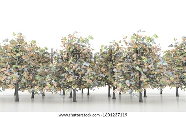 Saudi Riyal money tree 3d illustration background, ten, fifty, one hundred, and five hundred bills.