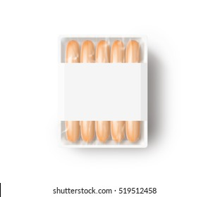 Sausage in blank white plastic disposable box mockup, 3d rendering.