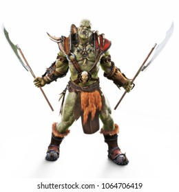 Savage Orc Brute warrior wearing traditional armor ready for battle. Fantasy themed character on an isolated white background. 3d Rendering
