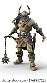 Savage Orc Brute wearing traditional armor and equipped with a flail  . Fantasy themed character on an white background. 3d Rendering