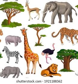 savanna animals pattern on white background